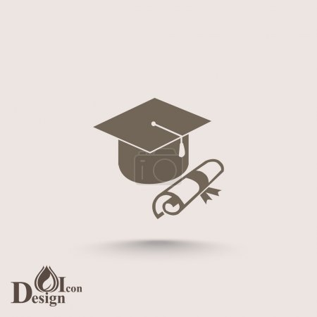 Illustration for Graduation cap and diploma, university education icon. vector illustration - Royalty Free Image
