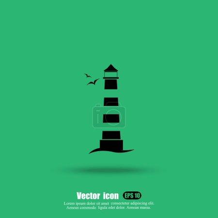 Photo pour Icône du phare marin, panneau de direction - image libre de droit