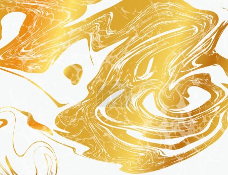 Illustration for Vector Illustration of Marbling Texture  for Design, Website, Background, Banner. Ink Liquid Element Template. Watercolor Pattern. Gold and Black - Royalty Free Image
