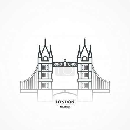 Vector Illustration of Tower bridge Icon Outline f...