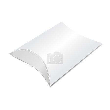 Illustration pour Illustration vectorielle de la boîte à oreillers pour la conception, site Web, fond, bannière. Modèle de paquet pliant. Emballage de détail isolé sur blanc votre marque dessus - image libre de droit
