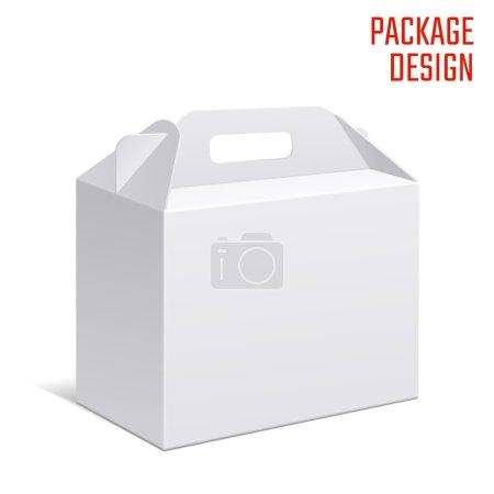 Illustration pour Illustration vectorielle de boîte en carton cadeau clair pour le design, site Web, fond, bannière. Modèle de paquet Habdle blanc isolé sur blanc. Pack détail avec pour votre marque dessus - image libre de droit