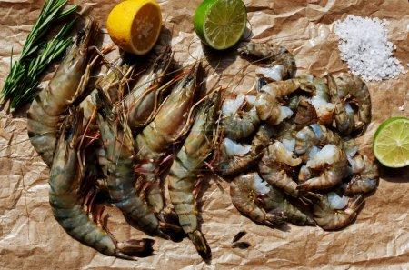 Set of fresh shrimp
