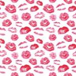 Seamless pattern - red lips kisses prints backgrou...