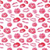 Seamless pattern - red lips kisses prints background