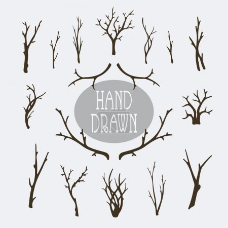 Hand drawn branches and trees