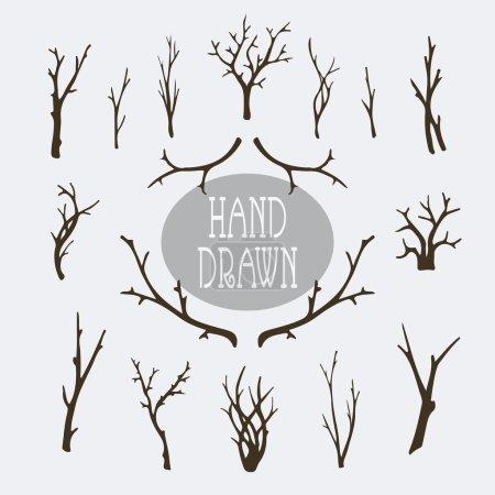 Illustration pour Ensemble de branches et d'arbres dessinés à la main éléments décoratifs - image libre de droit