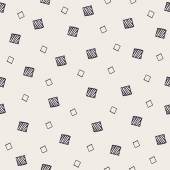 Hand Drawn Abstract Seamless Pattern with decorative randomized squares Modern monochrome sketched geometric background Contemporary festive graphic design