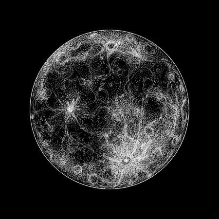 Illustration pour Pleine lune magique sur noir. Poinçon vectoriel dessiné à la main - image libre de droit