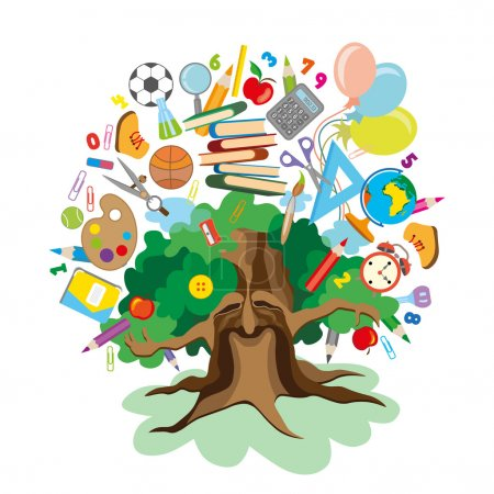 Illustration for Colorful vector Illustration of a tree with school supplies - Royalty Free Image