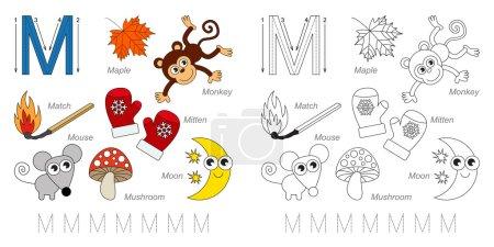 Tracing Worksheet for children. Full english alpha...