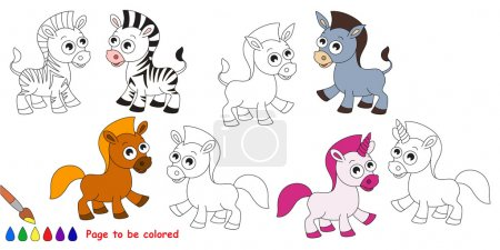 Horse set cartoon. Page to be colored.