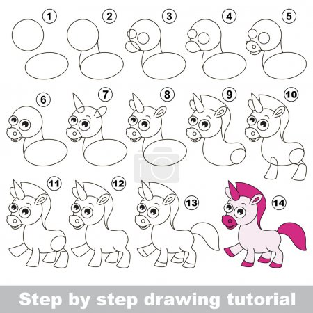 Unicorn. Drawing tutorial.
