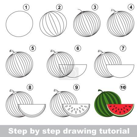 Watermelon. Drawing tutorial.