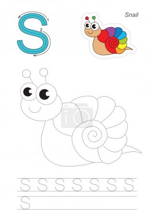 Trace game for letter S. Snail.