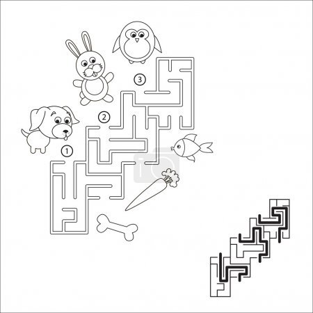 Find hidden right way. Task and answer. Maze game ...