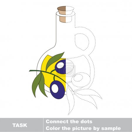 Illustration for One vector olive oil to be traced. Restore dashed line and color the picture - Royalty Free Image