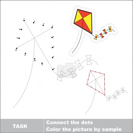 Vector numbers game. toy kite to be traced.