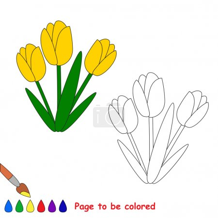 Yellow tulips in vector cartoon to be colored.