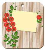 On a wooden board are recording sheet and a tomato plant Background