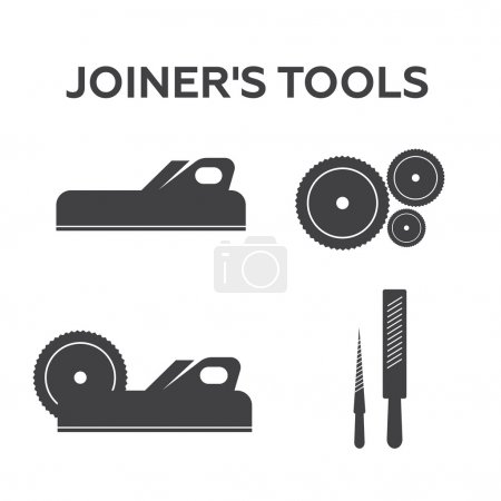 A set of logos, emblems of joiner's tools
