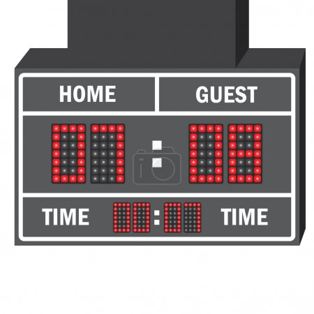 Vector illustration of a LED hockey scoreboard with fully editable data and space for user info