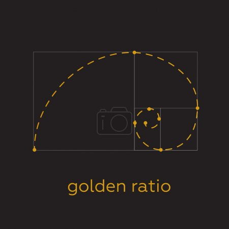 Symbol of the golden ratio. Golden ratio vector illustration. Golden ratio concept.