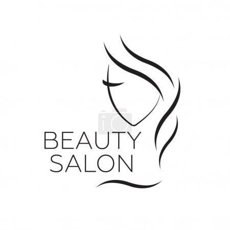 Illustration for Beautiful woman vector logo template for hair salon, beauty salon, cosmetic vector eps10 - Royalty Free Image