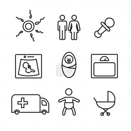 Illustration for Medicine and pregnancy vector line icons set eps10 - Royalty Free Image