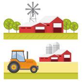 Zemědělství pozadí s stodola