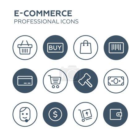 Illustration pour Icônes shopping set illustration vectorielle - image libre de droit