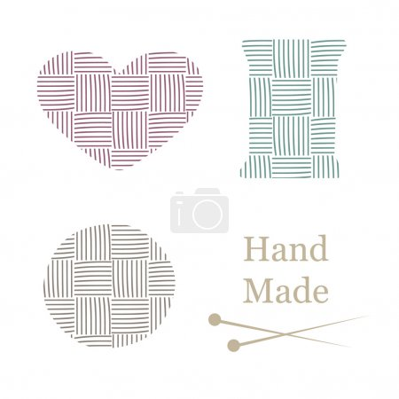 Hand drawn yarn for knitting. Knit and handmade, craft and ball, needle and hobby, vector illustration