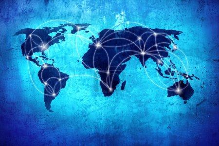 Hintergrundbild mit Weltkarte und Verbindungslinien