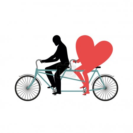 Lovers of cycling. Man rolls heart on tandem. Heart symbol of lo