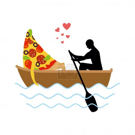 Man and slice of pizza and ride in boat. Lovers of sailing. Man