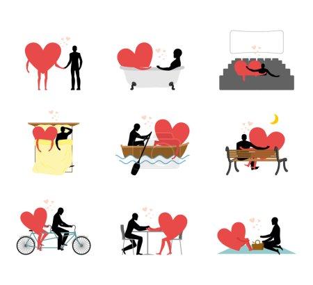 Illustration pour Lovers ensemble de silhouettes. Homme et cœur au cinéma. Amoureux dans le bain. Rendez-vous romantique nautique. Marche commune. En tandem. Amour en caf - image libre de droit