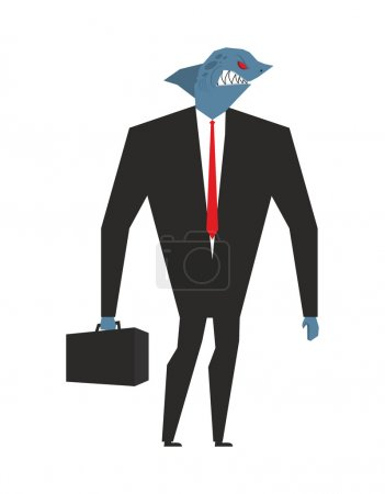Business shark. Businessman with head sea predator...