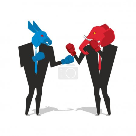 Donkey and elephant are boxing. Democrat and Republican fight. B