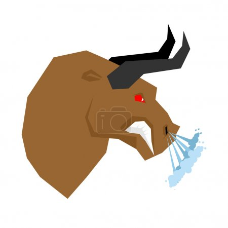 Angry bull. Head of an aggressive beast with big grin. Farm anim