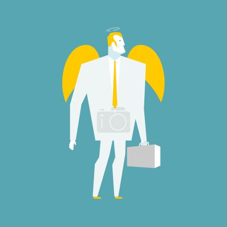 Angel businessman. Cherub paradise manager.  Guardian Angel for