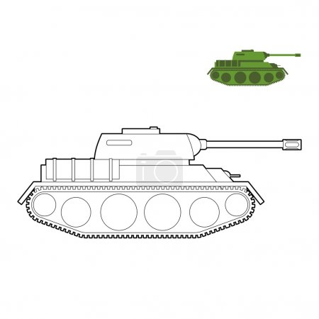 Military Tank coloring book. Fighting technique in  linear style