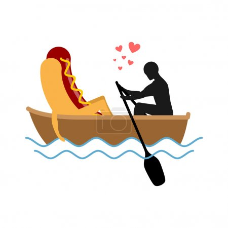 Man and hot dog in boat ride. Lovers of sailing. Man rolls fast