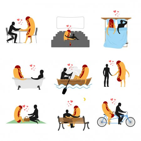 Love for hot dog set. Man and fast food in cinema. Lovers in bat
