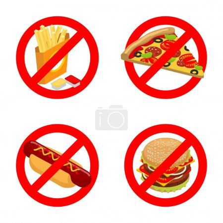 Stop fast food. Diet sign. Ban unhealthy food. It ...