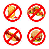 Stop fast food Diet sign Ban unhealthy food It is forbidden to eat French fries Emblem against pizza Anti sign of hot dog You can not juicy hamburger Prohibiting red sig
