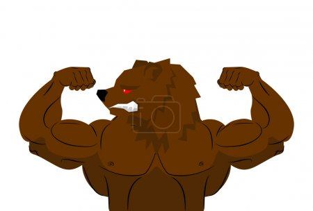 Aggressive strong Bear Bear athlete. Angry animal fitness. Wild