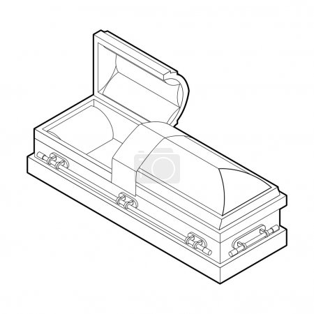 Illustration for Open coffin in linear style. Wooden casket for burial. Red hearse. Religious illustration - Royalty Free Image
