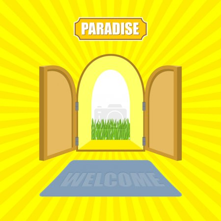 Welcome to paradise. Open gates of paradise gardens. Mat in fron