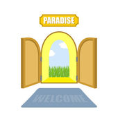 Gates of paradise on a white background Entrance to paradise A