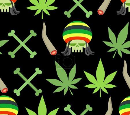 Jamaica drugs seamless pattern. Rasta skull and leaf cannabis. S